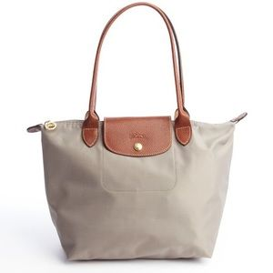 LONGCHAMP 'Small Le Pliage' Shoulder Tote Grey